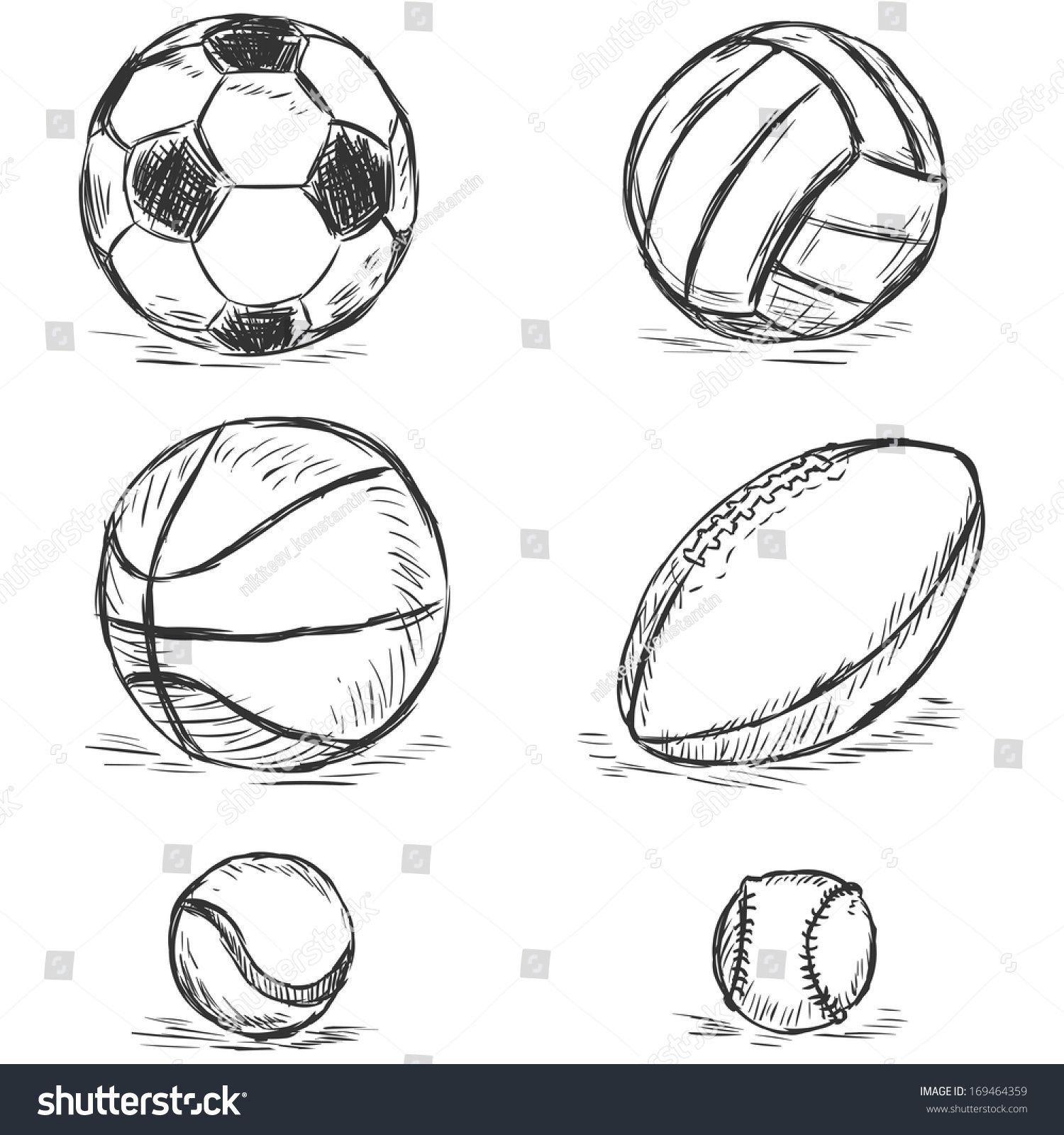 Vector Sketch Illustration Sport Balls Football Volleyball Basketball Rugby Tennis Baseball Sports Balls Sports Drawings Sport Illustration