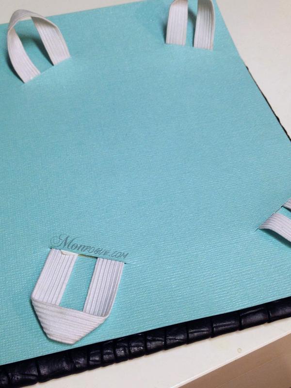 DIY iPad Case Step 7 Pull elastic through & glue