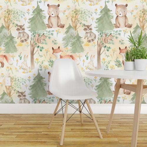 12 Woodland Animals Baby Animals In F Woodland Wallpaper Nursery Wallpaper Animal Wallpaper