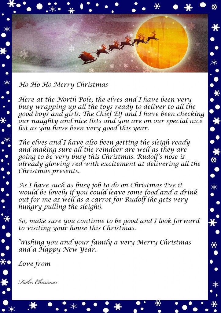 Letter from Father Christmas- free printable template Santa - kids christmas list template
