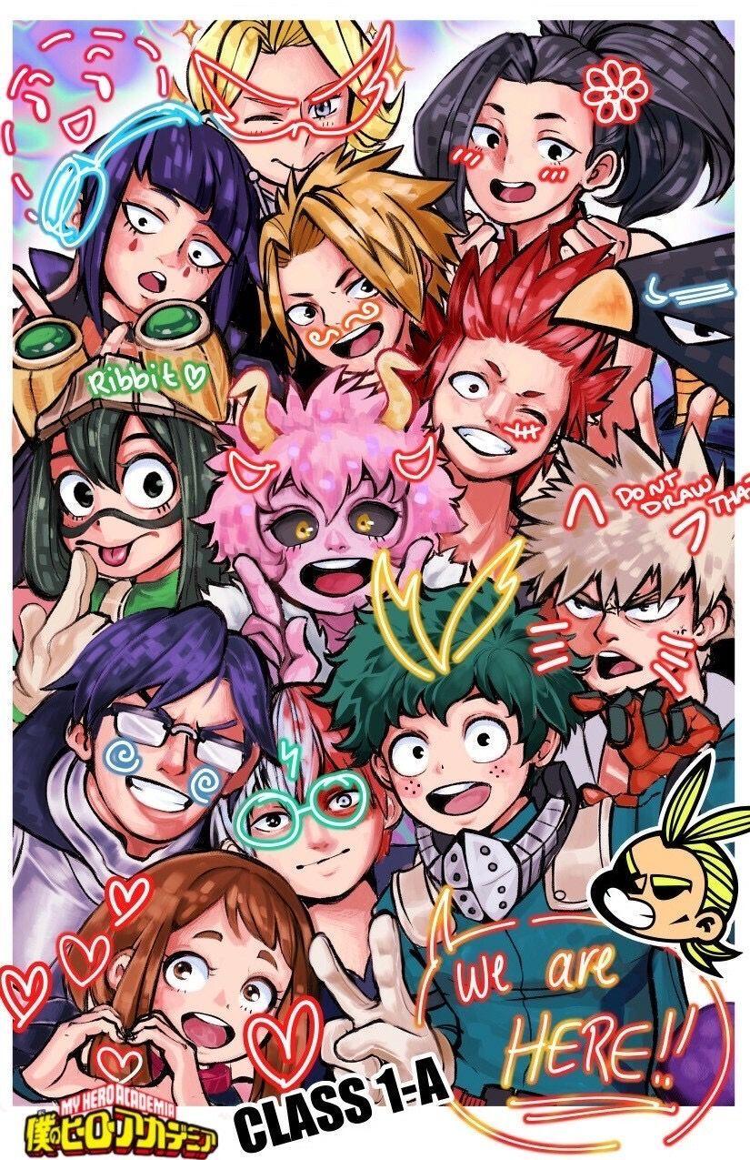 Wholesome Class 1 A Myheroacademiawallpaper My Hero Hero Anime