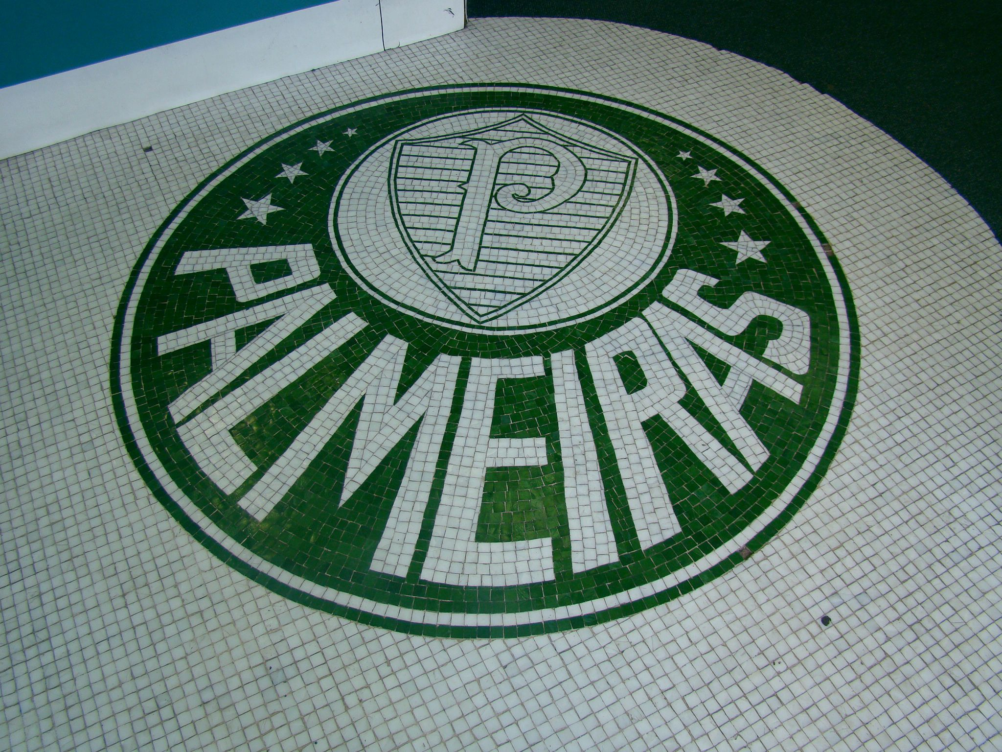 Mosaico simbolo do Palmeiras pastilhas de vidro da Vitrus