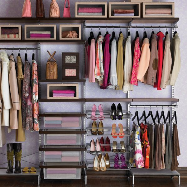 Elegant Walnut U0026 Platinum Elfa Décor Freestanding Closet | The Container Store