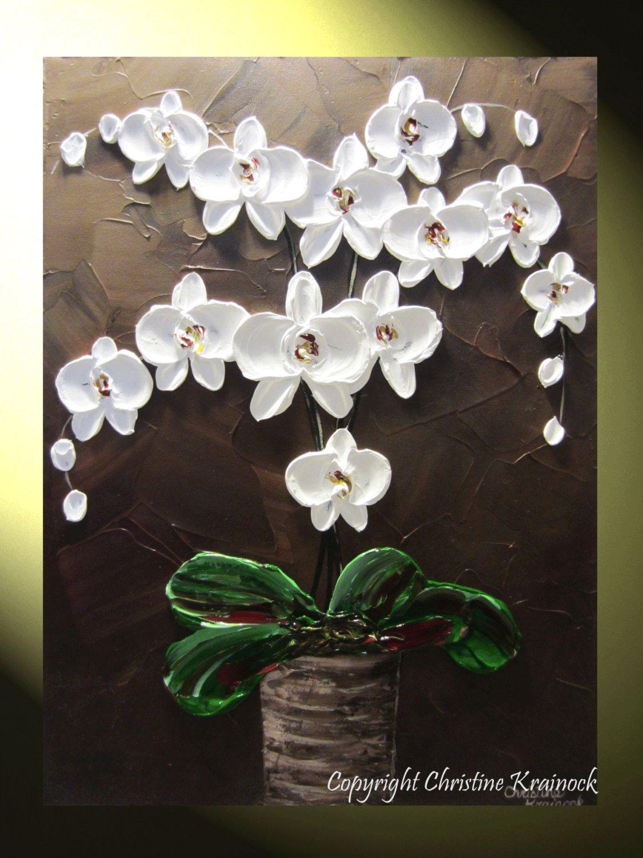 Original Abstrakt Texturierte Malerei Orchideen Blüten Moderne Orchidee Blume In Vase Htel Zeitgenössische Fl 24 X 18 Christine