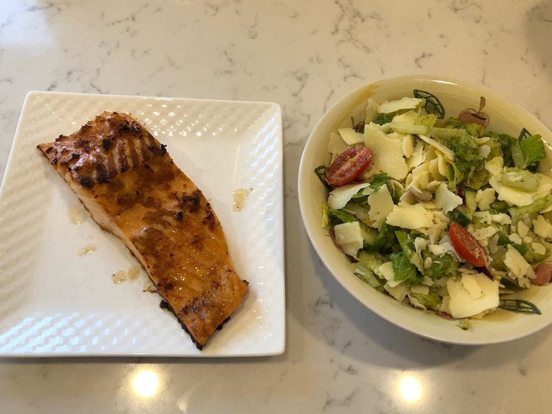 Delicious Keto friendly supper tonight. Glazed salmon fillet with romaine salad. Soooo good!! #p90x #p90x2 #p90x3 #beachbodyondemand #beachbody #keto #fitat50 #tacticalfitness  #intermittentfasting  #foamrolling #yoga #postactivationpotentiation #getafterit #tonyhorton #diciplineequalsfreedom #keto #lchf #lowcarb #ketofriendlysalads Delicious Keto friendly supper tonight. Glazed salmon fillet with romaine salad. Soooo good!! #p90x #p90x2 #p90x3 #beachbodyondemand #beachbody #keto #fitat50 #tacti #ketofriendlysalads