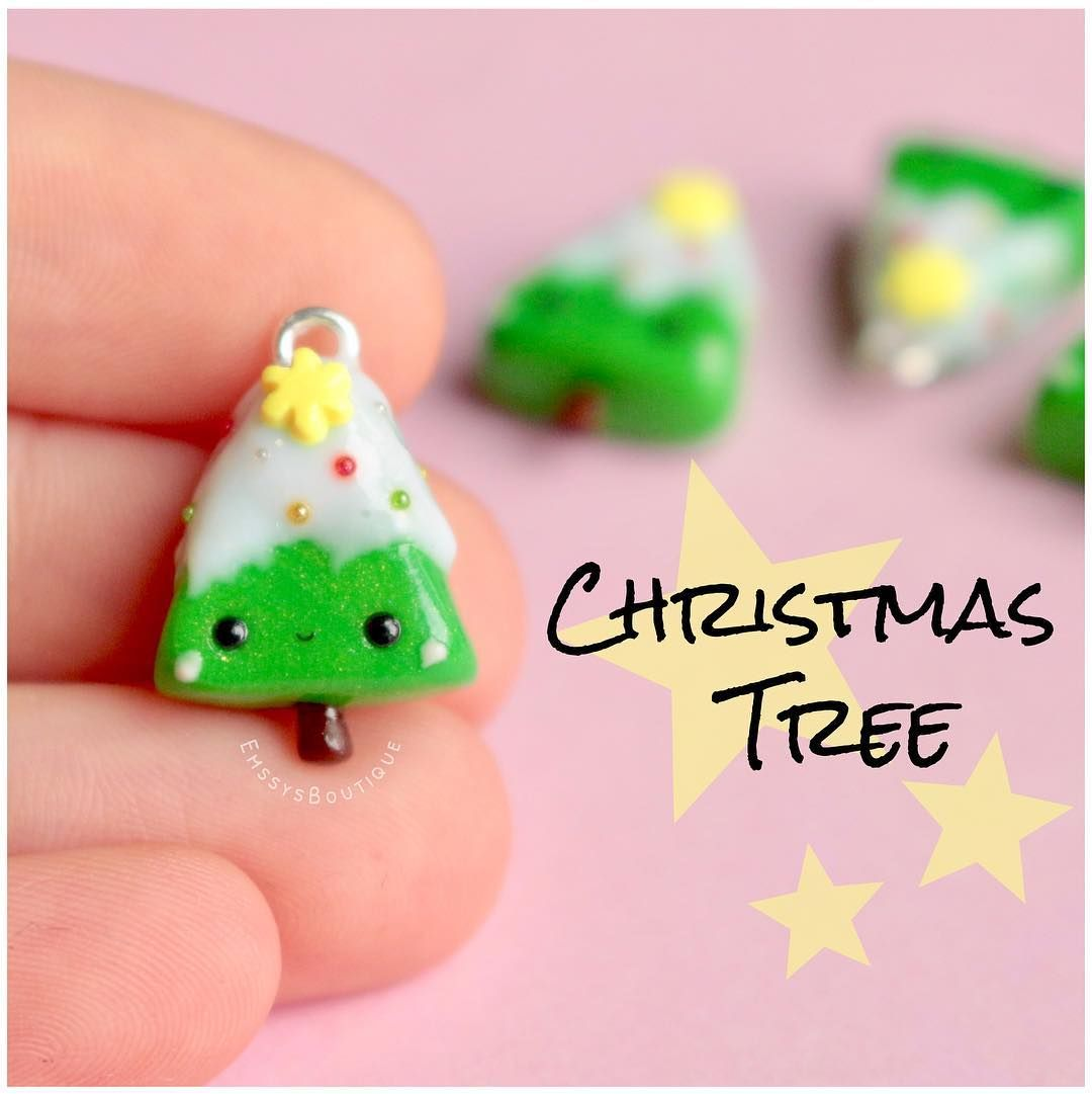 Polymer Clay Christmas Charms.Fimo Weihnachtsbaum Anhanger Kawaii Polymer Clay