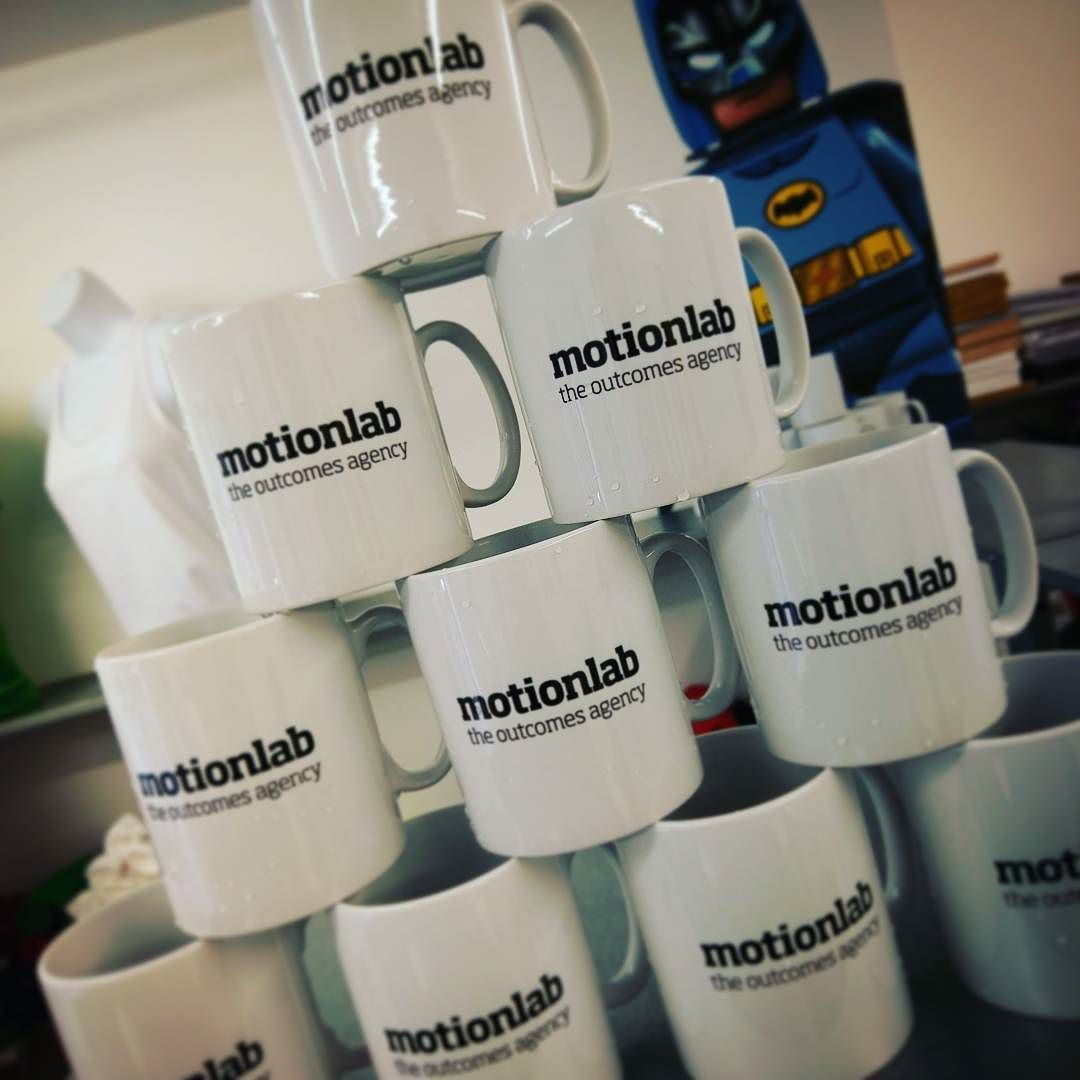 High quality mugs for a top local marketing agency. Like their strapline. Think we need one. 'Awesomeness as standard' maybe?