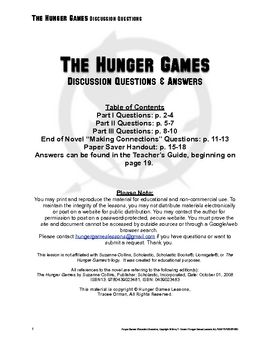 Hunger games book club discussion questions
