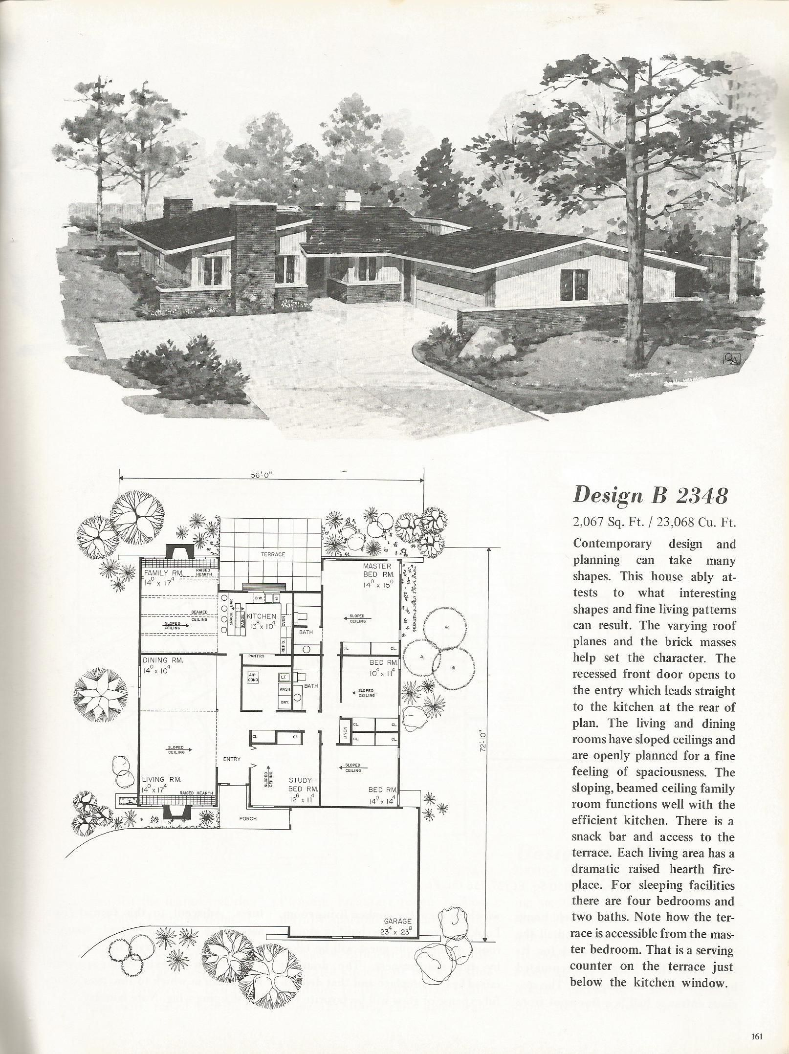 vintage house plans mid century homes 1960s homes mcm