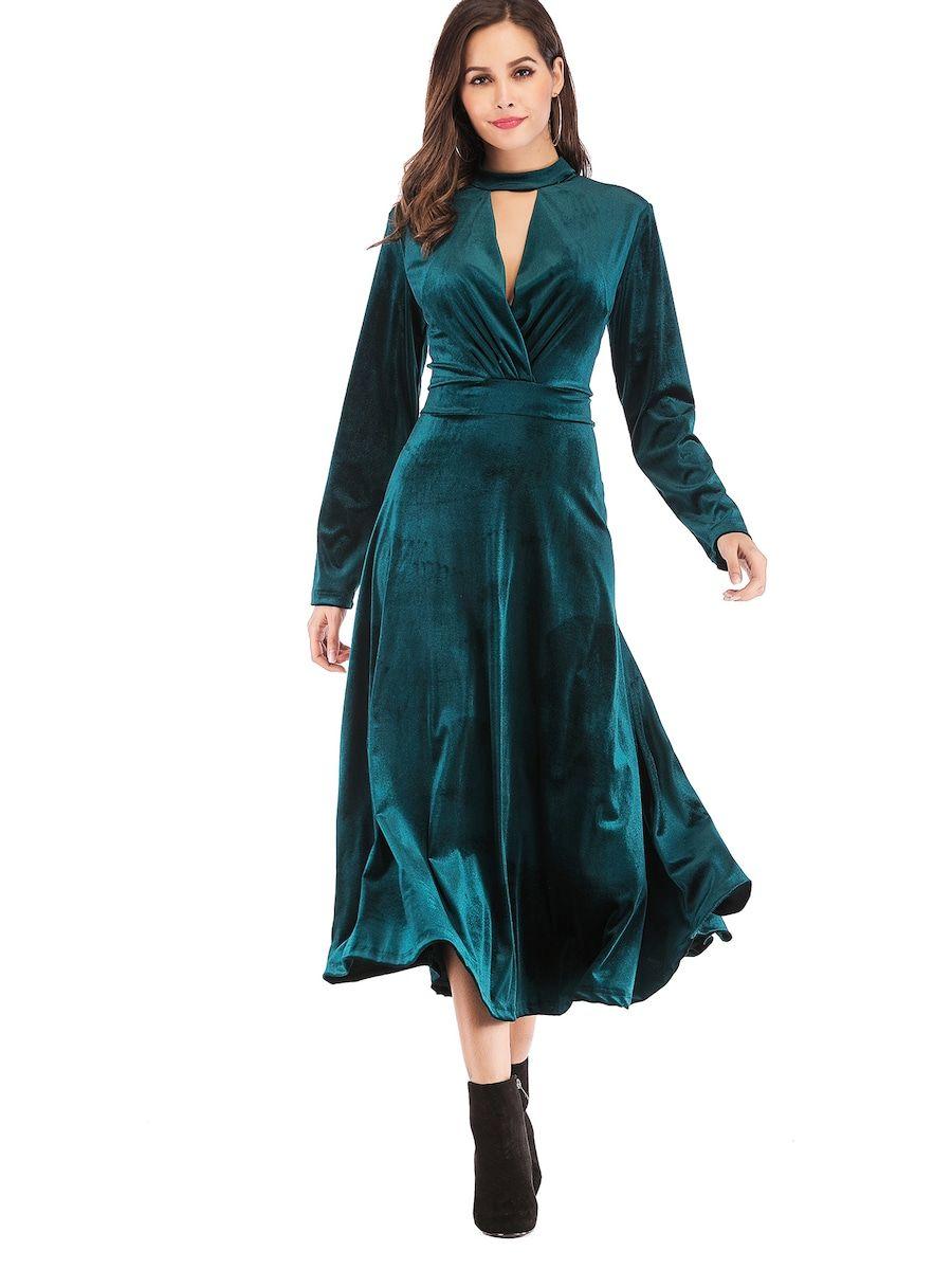 Cheap velvet zipback plunging neck longline dress for