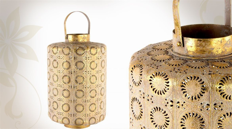 Lanterne poser orientale finition dor e vieillie 46 cm for Decoration a poser sur meuble
