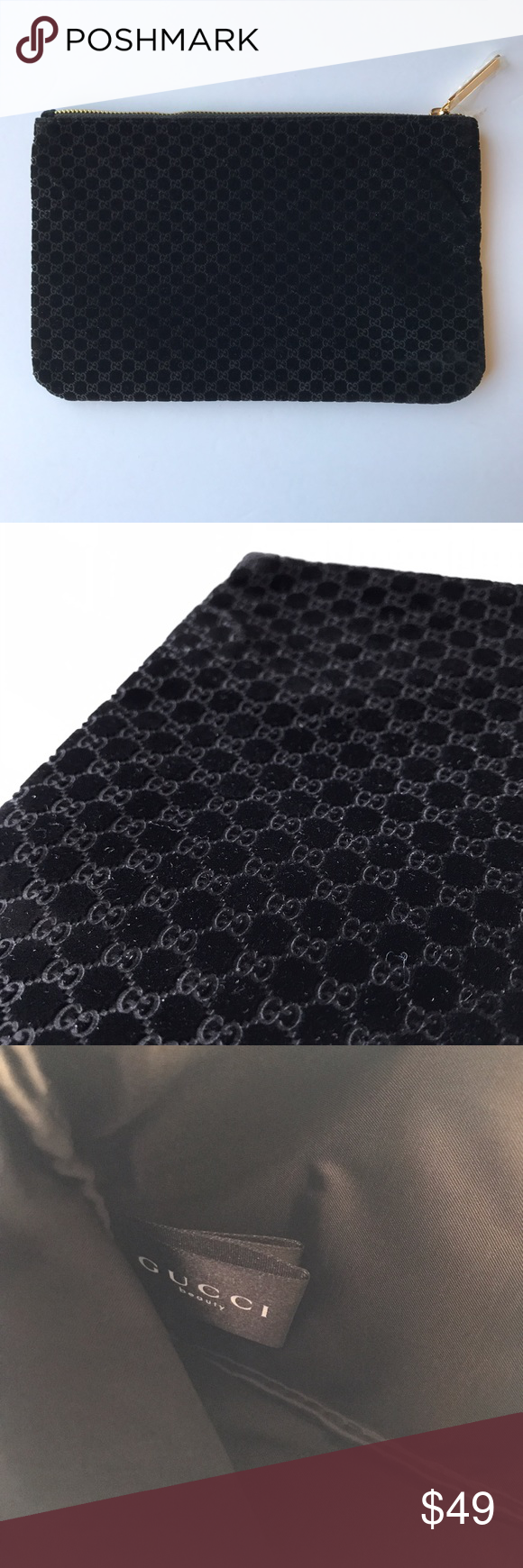 Gucci • black velvet makeup bag Elegant rectangular
