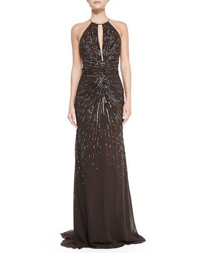 ROBERTO CAVALLI Starburst Beaded Gown With Keyhole. #robertocavalli ...