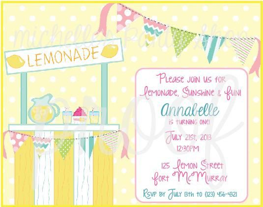 NEW - Fresh Squeezed Lemonade Stand Birthday Invitations, set of 12 - fresh invitation card of birthday