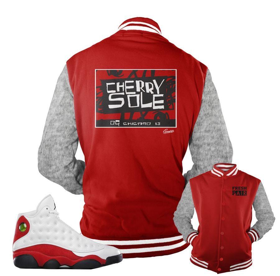 new concept dd86d 0c1a2 Jordan 13 True Red Jacket - Cherry Sole - Red