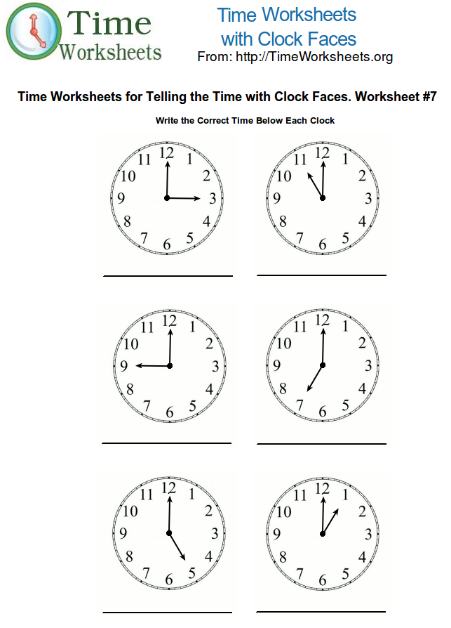 teaching time 1st grade – Maths Clocks Worksheets