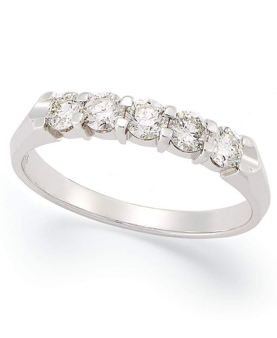 d487af78cdc47 Certified Five-Stone Diamond Anniversary Band Ring in 14k White Gold ...