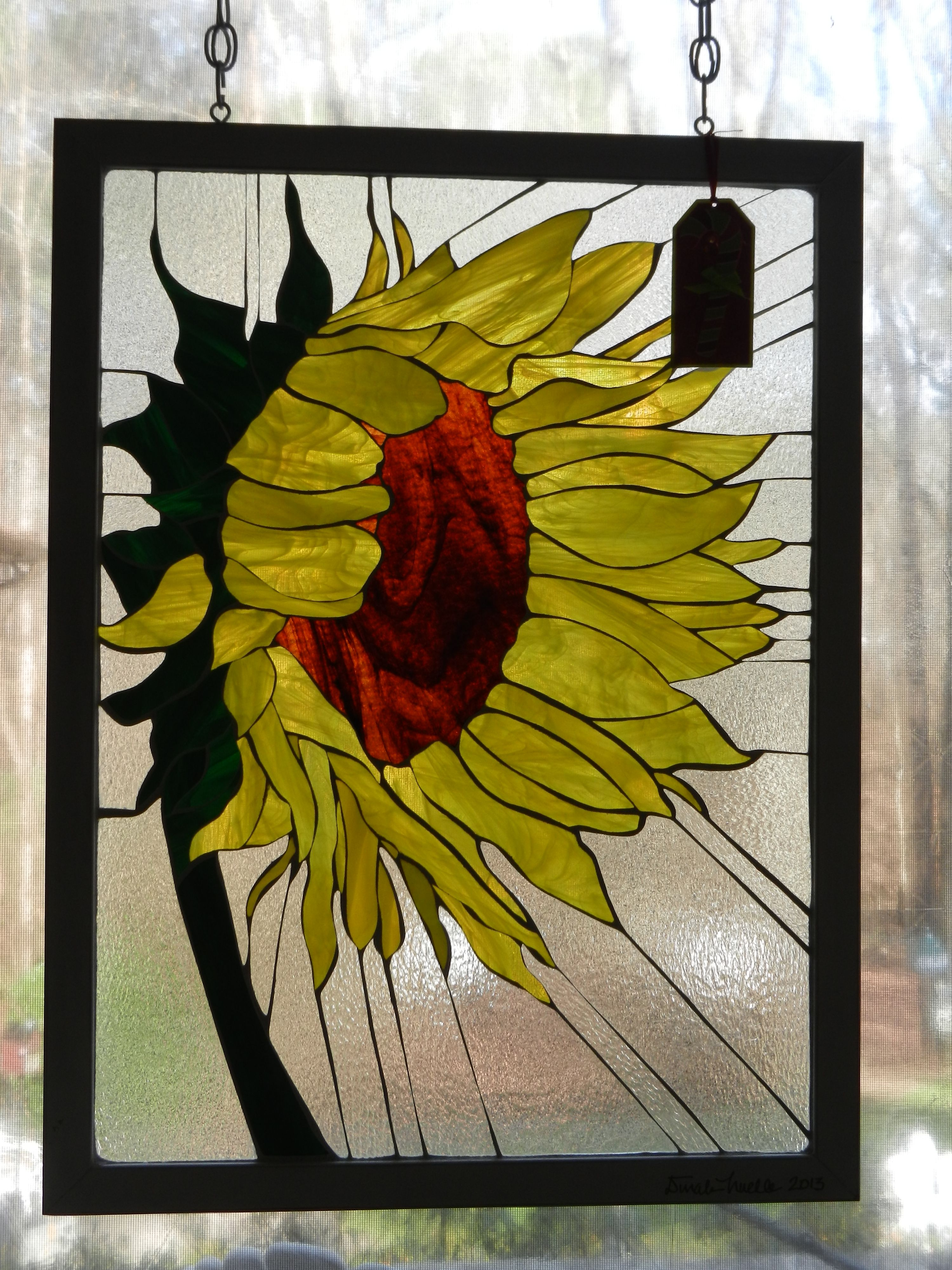 Sunflower stained glass done by my cousin Dinah.