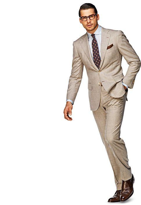 Suit Light Brown Plain La Spalla P3428i Suitsupply Online Store