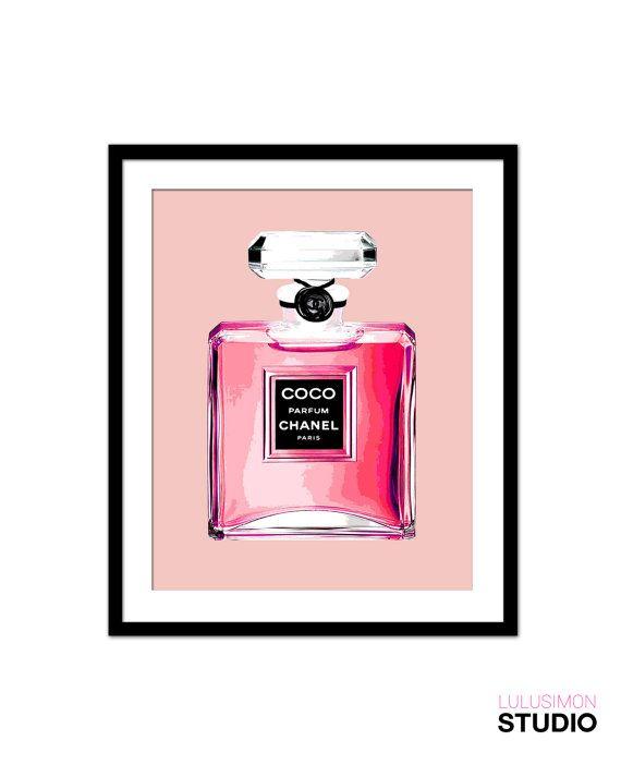 Chanel Perfume Bottle Print - Wall Decor Print - Pink Perfume Bottle ...