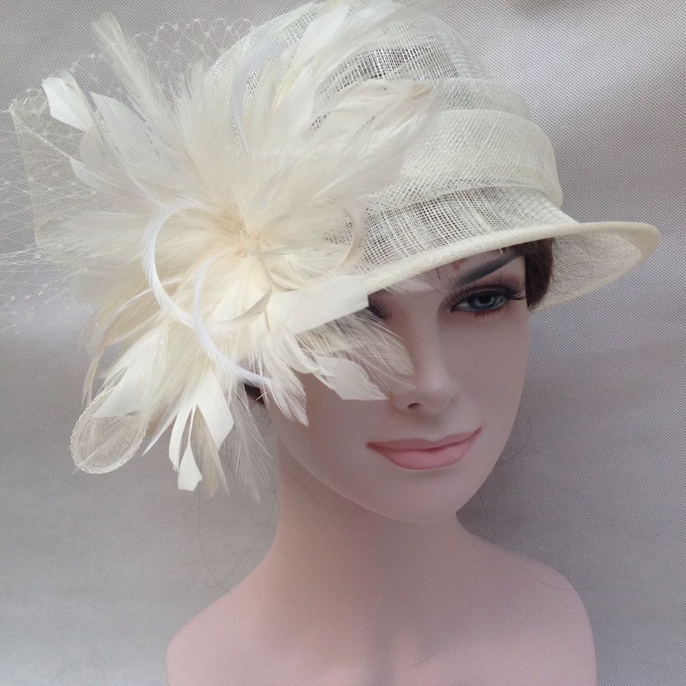 916d4dcaae1e9 Kentucky Derby Wedding Tea Carriage Sinamay with Feathers Bucket Hat Ivory   BowlerDerby