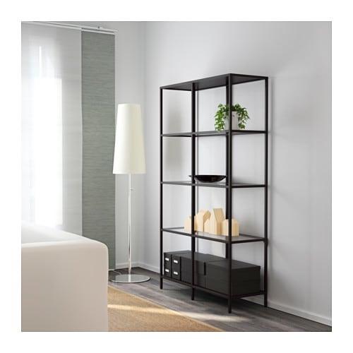 Ikea Vittsjo Black Brown Glass Shelf Unit Apartment