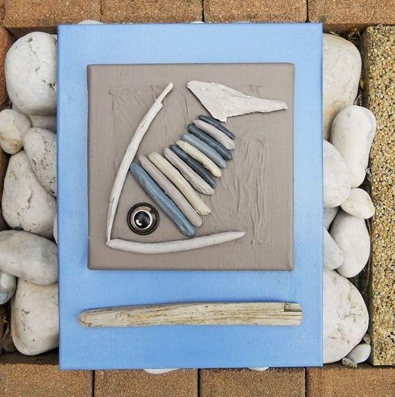 tableau en bois flott et peinture le poisson. Black Bedroom Furniture Sets. Home Design Ideas
