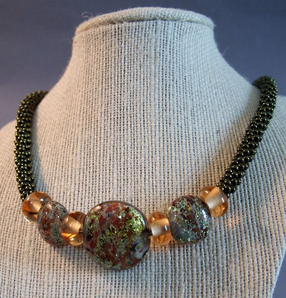 Metallic Olive Kumihimo Necklace Boro Glass by JasmineTeaDesigns, $190.00