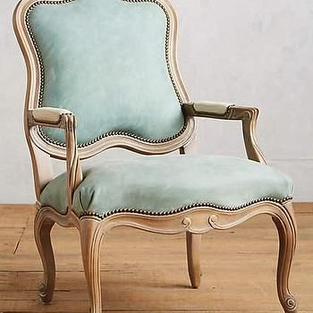 Light Blue Leather Tirelle Occasional Chair
