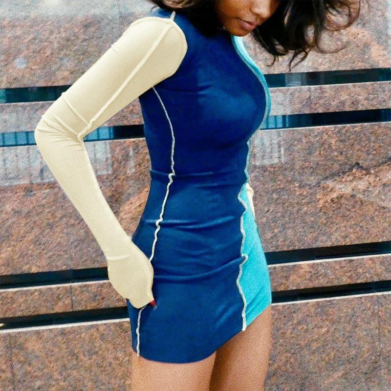 Skinny Fit Patchwork ONeck Casual Long Sleeve Women Mini Dress – HisandHerFashion.com