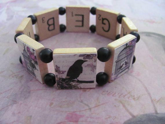 """Reversible Scrabble Tile  Bracelet - spells """"Bird Cage"""" inside"""
