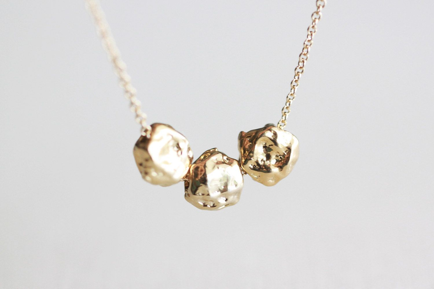 Gold nuggets necklace small golden nugget trio k gold filled