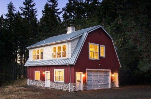Red Barn House With White Stone Barn House Design Gambrel Barn