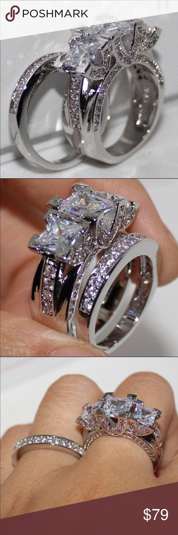 New 18k white gold wedding ring set Brand new 18 k white
