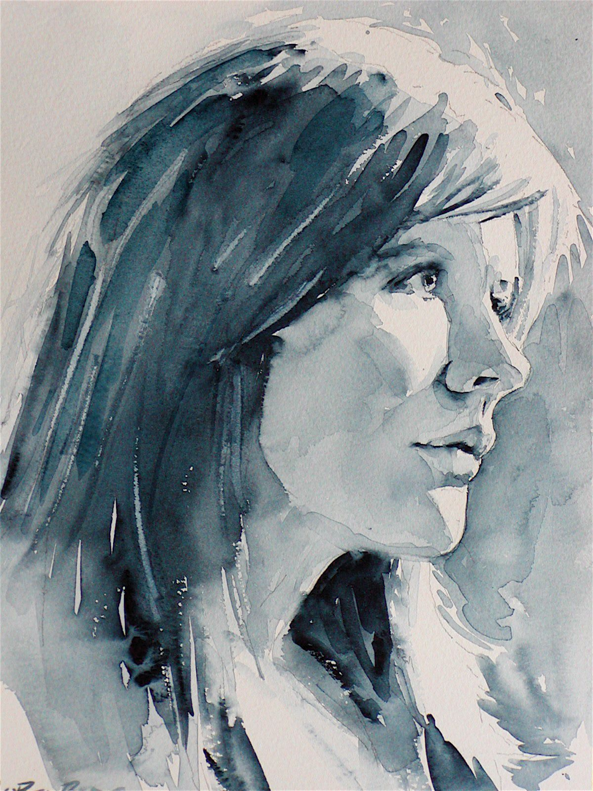 Beautiful B W Watercolor Portrait Studies Watercolor Portraits