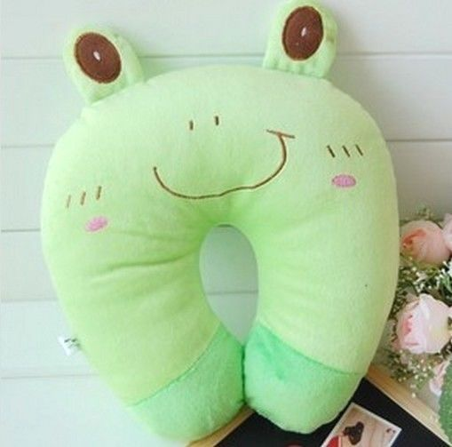 KT267 Fashion Pillow Plush U shape Neck Pillow Car Cushion New 2in1 ~Green Frog~