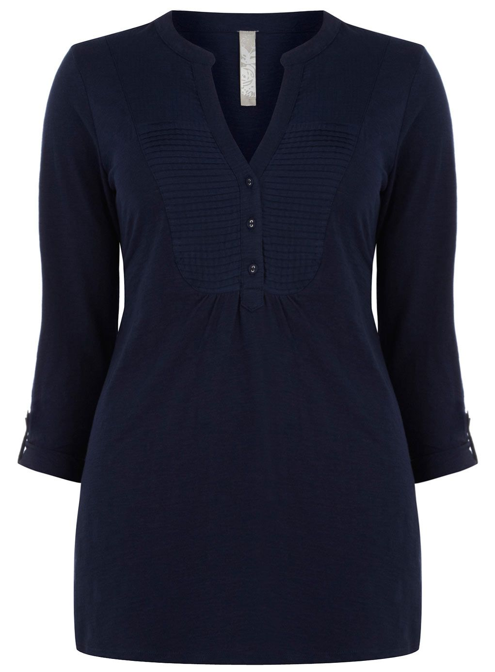 Take your look back to the basics with the Navy Woven Bib Jersey Shirt. Perfect with a fitted pencil skirt and great ballerina pumps.