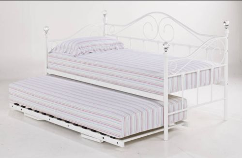 Florence Day Bed Trundle With Crystal Finials In White Or Black