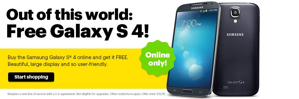 Sprint special offer Free Samsung Galaxy S4 with two year - free service contract