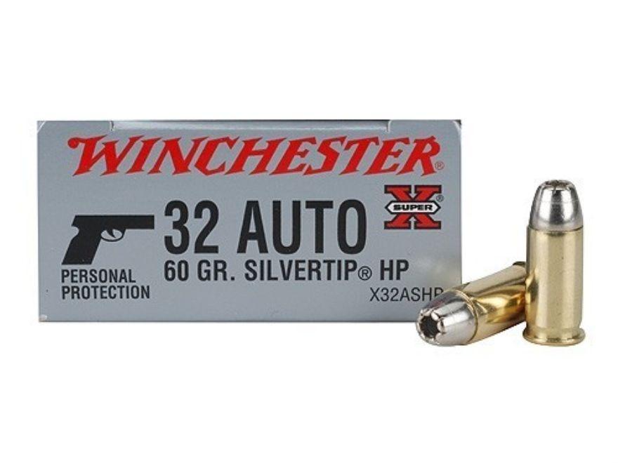 Winchester Super-X Ammunition 32 ACP 60 Grain Silvertip Hollow Point