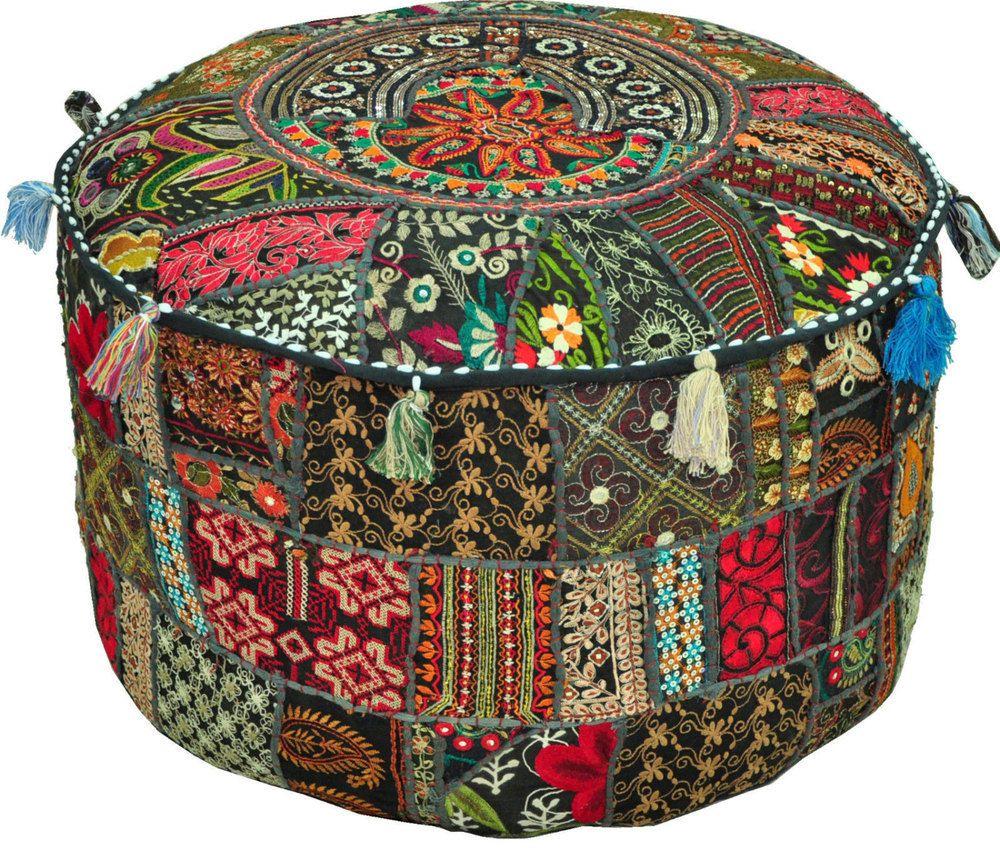 Photo of atchwork vintage indian Pouf Ottoman, pouffe pouffes, Foot Stool, Bean Bag,