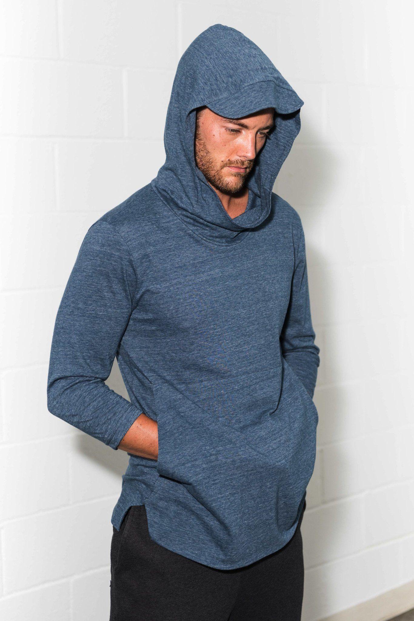 Men S 3 4 Sleeve Cowl Neck Visor Hoodie Hoodies Mens Outfits Cowl Neck [ 2047 x 1366 Pixel ]