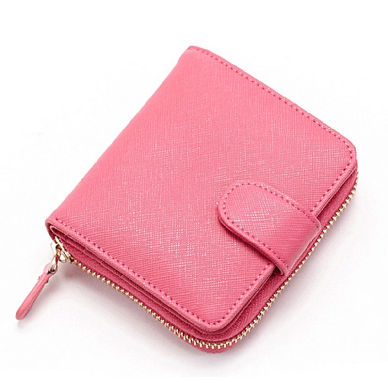 Men Women Genuine Leather Wallet Short Bifold Practical Zip Coin Card Case Purse
