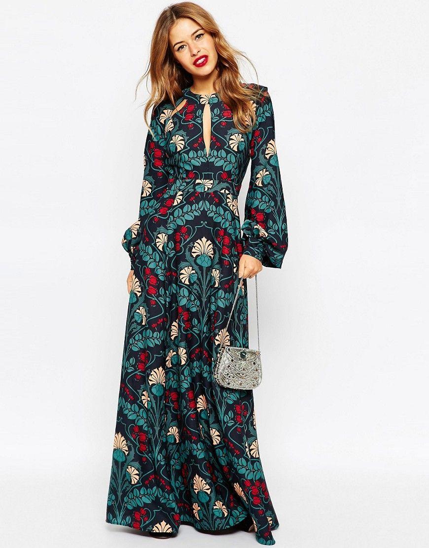 3ca00ce5e05 Image 4 - ASOS PETITE - Robe longue style caftan à détail goutte d eau et  imprimé fleuri