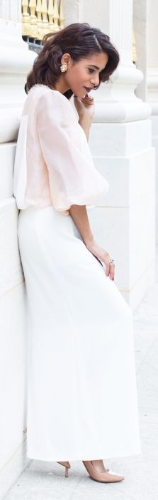 Light Pink And White Chic Outfit by The Fierce Diaries
