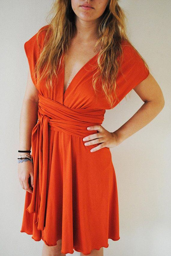45dcbe304fb21 SALE Orange Cocktail Dress, Orange Infinity dress, Short orange ...