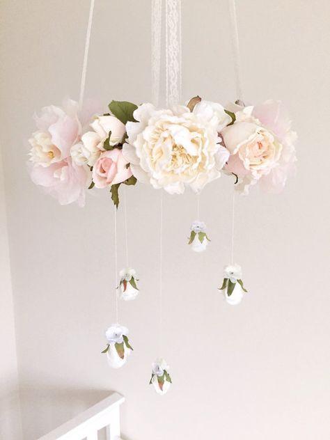 Vintage pastel pink cream and white rose flower mobile pink floral vintage pastel pink cream and white rose flower mobile pink floral nursery mobile aloadofball Choice Image