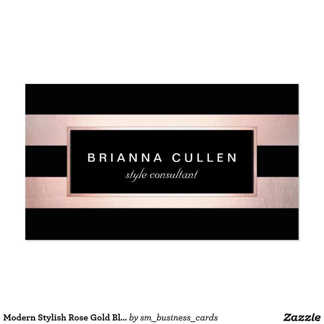 Modern Stylish Rose Gold Black Striped Professional Business Card ...