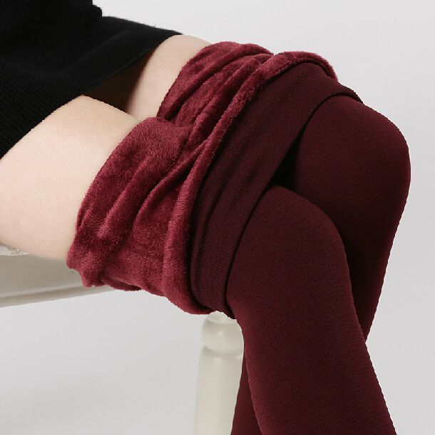 Women Winter Thick Warm Slim Pants Thermal Stretchy Stirrup Black Plus Trousers