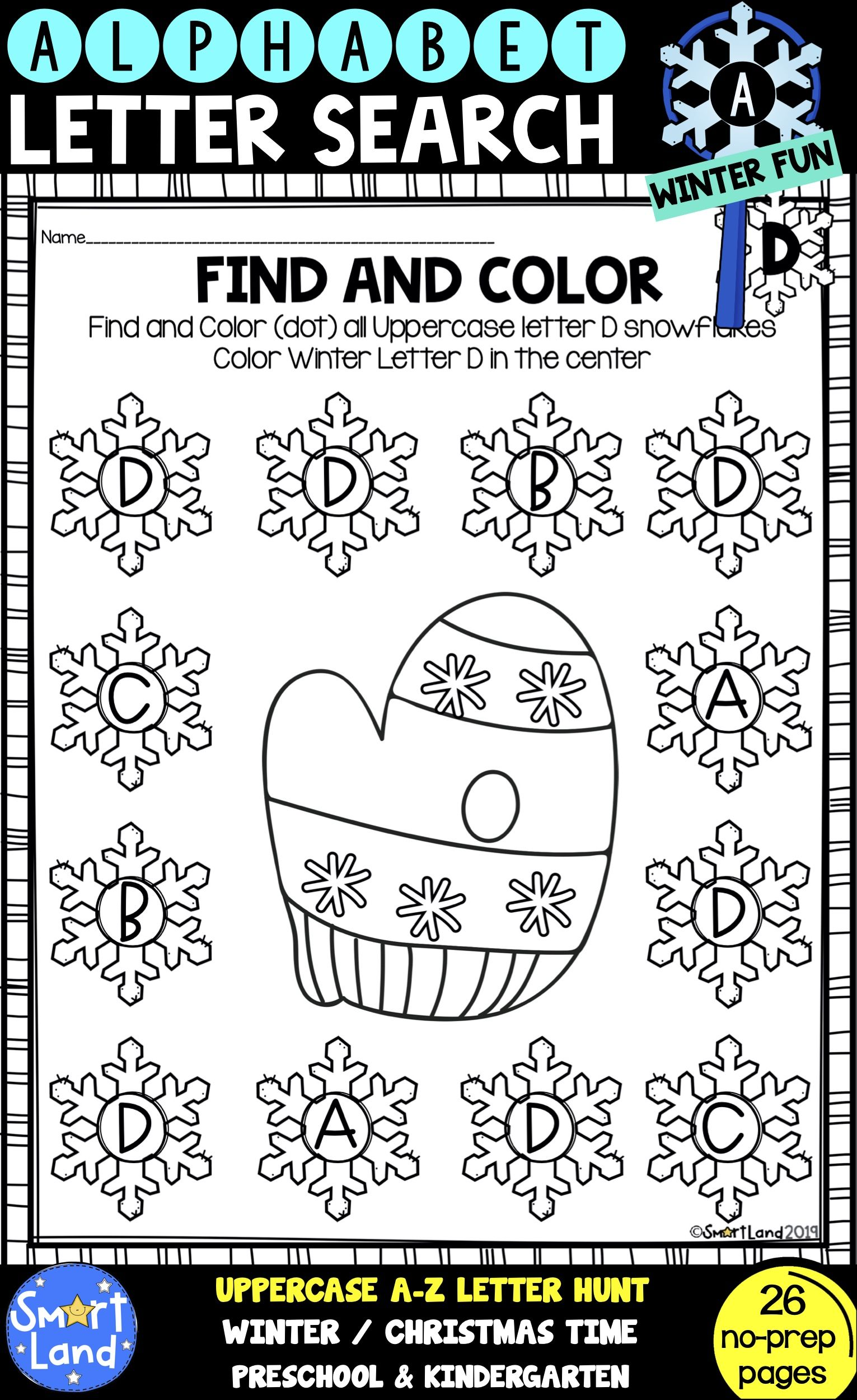Alphabet Practice Letter Search Snowflake With Images